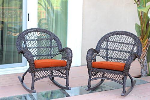 Jeco Wicker Rocker Chair with Orange Cushion, Set of 2, Espresso