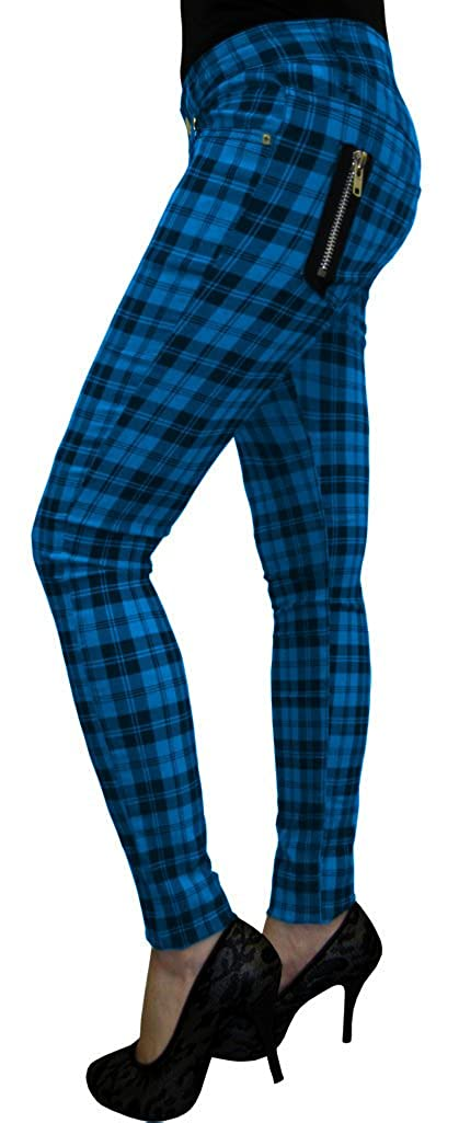 2b84dd47503 Banned Women s Blue Tartan Check Punk Rock Emo Skinny Jeans Pants Trousers  (UK Size 8 (Small))  Amazon.co.uk  Clothing