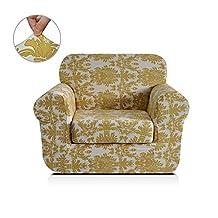 Chunyi 2-Piece Printed Polyester Spandex Sofa Slipcover (Chair, Yellow Flower)