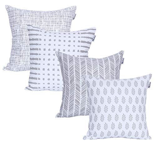 ACCENTHOME Accent Home Square Printed Cotton Cushion Cover,Throw Pillow Case, Slipover Pillowslip for Home Sofa Couch Chair Back Seat,4pc Pack 18x18 in Silver Ash Color