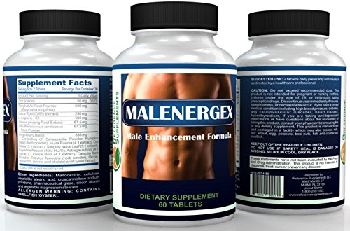 Malenergex Best Testosterone Booster Supplement - Potent and Natural Herbal Pill - Tongkat Ali, Maca Root - Support Increased Energy, Performance, Size & Stamina - Made In The USA - 100% Guarantee