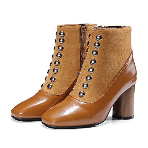 QIN&X La mujer Tacones bloque cuadrado corto Toe Botines zapatos Light Brown