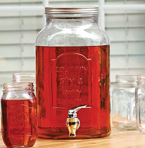 Circleware Country Glass Mason Jar Beverage Set, 1.5 Gallon Beverage Drink Dispenser, 6 Yorkshire Mason Jars, 16 Ounce Each, Gift Boxed by Circleware (Image #1)
