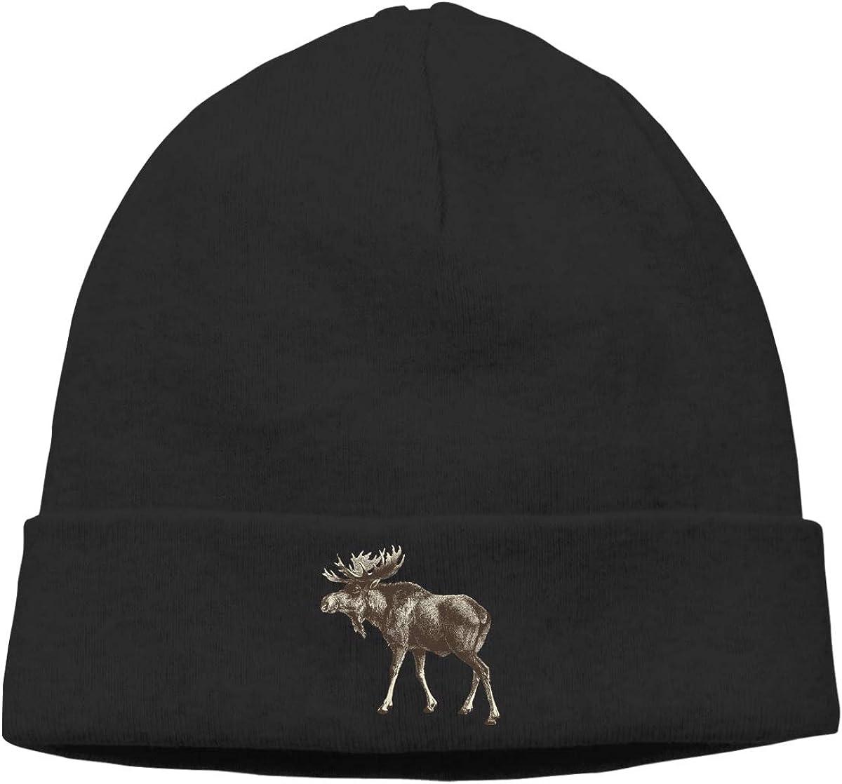 Riokk az Wood Moose Skull Hats Beanie Caps for Mens Black