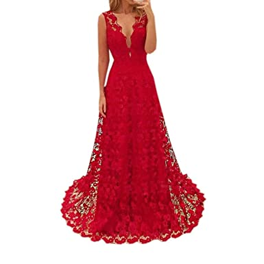 3b9e480e3bd7e Amazon.com: Sexy Floor-Length Cocktail Prom Gown Dress Womens Red Sleeveless  Deep V-Neck Lace Hollow Out Backless Sundress Long Dress: Clothing