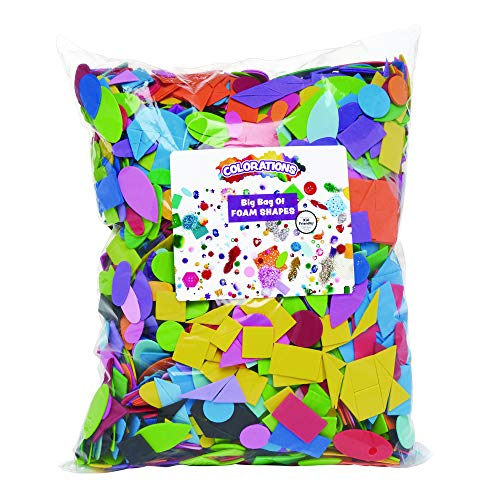 Colorations Big Jumbo Bag of Foam Shapes, 1 Lb Bulk, Assorted Colors, Geometric Rainbow Shapes, for STEM, STEAM, Collage, Mosaic, Arts & Crafts, Learning, Matching, Sorting, Pattern (Item # FOAMRUS)