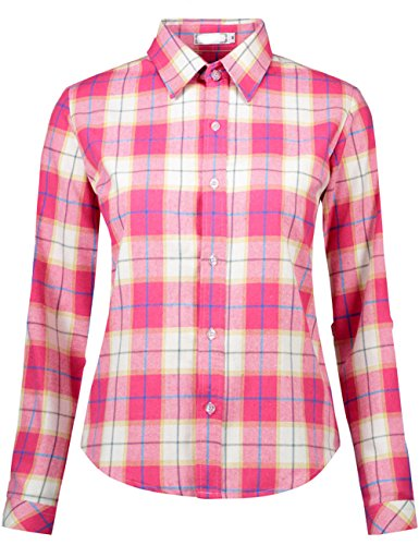 (DOKKIA Women's Casual Blouses Long Sleeve Plaid Checkered Button Down Flannel Shirts (Large, Pink White) )