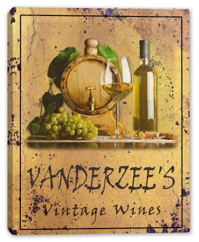 VANDERZEE'S Family Name - MANY DESIGNS AVAILABLE - Vintage Wines Gallery Wrapped Canvas Sign 3 SIZES AVAILABLE - 11