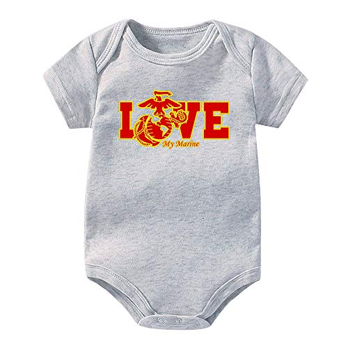 (LianMai USMC Marine Corps Funny Bodysuits Baby Short Sleeve Onesie Infant Jumpsuit,Customized Baby Gift Grey)