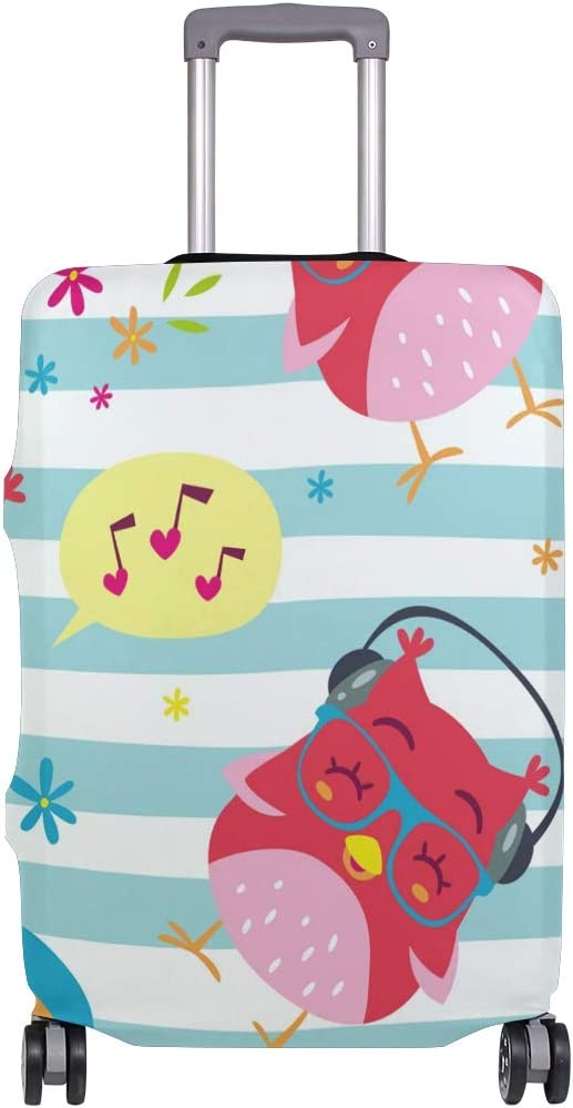 FOLPPLY Cute Cartoon Owl Butterfly Floral Pattern Luggage Cover Baggage Suitcase Travel Protector Fit for 18-32 Inch