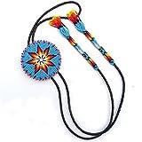VivaApparel Handmade Turquoise Blue Beaded Bolo Tie 3 Inch Star Bead Work Non Native Original