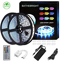 Bathebright Led Strip Lights Waterproof 600leds 32 8ft 10m Waterproof Flexible Color Changing Rgb Smd 5050 600leds Led Strip Light Kit 44 Keys Ir Remote Controller 12v 6a Power