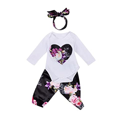 KONFA Toddler Newborn Baby Girls 3Pcs Outfits Autumn Winter Clothes,Lace Romper+Floral Pants+Headband Sets