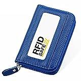 Hibate RFID Block Genuine Leather Credit Card Cases Holder Travel Wallets - Blue