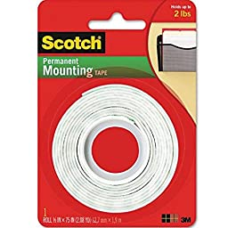 Scotch Permanent Mounting Tape, 1 in x 75 inches 1 ea ( Pack of 4)