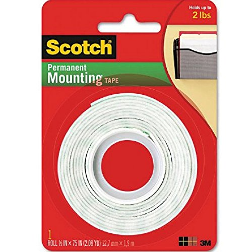 Scotch Permanent Mounting Tape, 0.5 x 75 inches (Pack of 2) ()