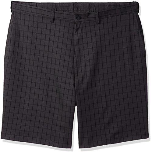 Haggar Mens Big and Tall B&t Cool 18 Pro Classic Fit Windowpane Flat Front Short