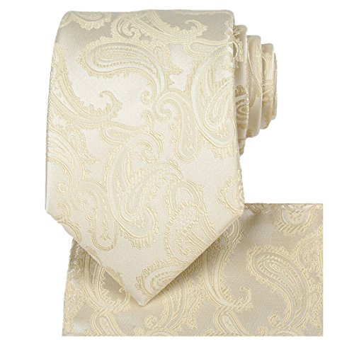 KissTies Cream Champagne Tie Set: Paisley Necktie + Pocket Square + Gift - Color Gold Handkerchief Necktie