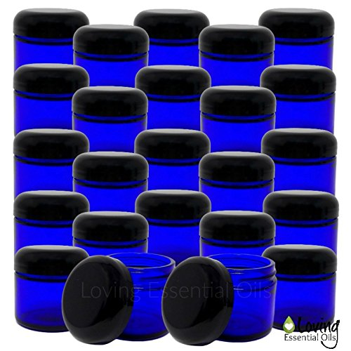 Loving Essential Oils 2oz Blue Glass Jars With Lids, Easy To Fill Reuse Containers, Make Homemade Salve, Creams, Lip Scrubs Oil Blends. DIY RECIPE Guide Included 24 jars