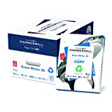 Hammermill Paper, Great White 30% Recycled Copy Paper, 20lb, 8.5 x 11, 3 Hole Punch, 92 Bright, 5000 Sheets/10 Ream Case, (086702C), Made In The USA