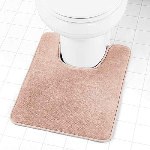 Genteele Memory Foam Toilet Bathroom Rugs U-Shaped Contour Toilet Mat, Non Slip, Machine Washable, Absorbent, Super Cozy Velvet Bathroom Toilet Carpet, 20 inches X 24 inches Contour, Beige