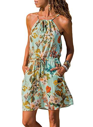 Azokoe Women's Summer High Neck Straps Boho Bohemian Flower Printed Sleeveless Sundress Loose Beach Casual Mini Dress with Pockets M Size 8 -