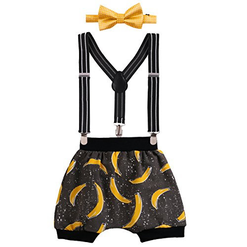 Baby Boys Cake Smash Outfit First Birthday Bloomers Bowtie Adjustable Y Back Suspenders Clothes set #2 Yellow Banana+Harem Pants One Size