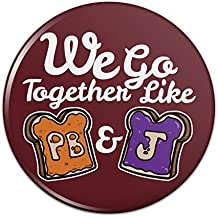 Peanut Butter and Jelly Together PB&J Best Friends Pinback Button Pin Badge
