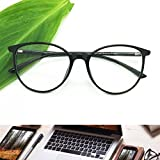 Reading Glasses - Blue Light Blocking - Round Women Men (A. Black, 0.00)