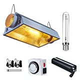 PrimeGarden 600W HPS 120~240V Grow Light Fixtures w/ Air Cooled Reflector Digital Dimmable Ballast Rope Hanger Timer for Hydroponic Indoor Plant Growing System (Air Cooled Reflector 600W(HPS))