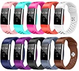 Bands for Fitbit Charge 2 HR, 10-Pack, Replacement Classic Fitness Accessory Band for Fitbit Charge 2 (02, Ten Colors, Small)