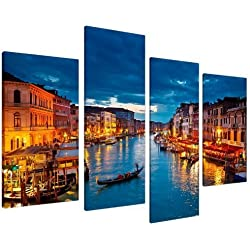 Venice Italy Gondola Grand Canal Blue City Canvas - Multi 4 Piece - 51 Inches Wide - 4068 - Wallfillers