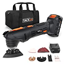 Oscillating Tool, Tacklife 20V Max Cordless Oscillating Multi-Tool, 2.0AhLithium-Ion Battery, 1 Hour Fast Charge, 6 Variable Speed for Grout Removing, Scraping, Cutting and Polishing | PMT03B