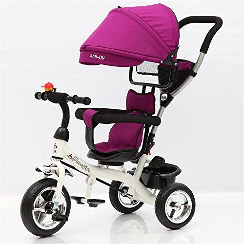 3 Wheel Stroller Multifunctional Children Folding Bicycle Pedal Ultraviolet Radiation Proof for Kid (Purple)
