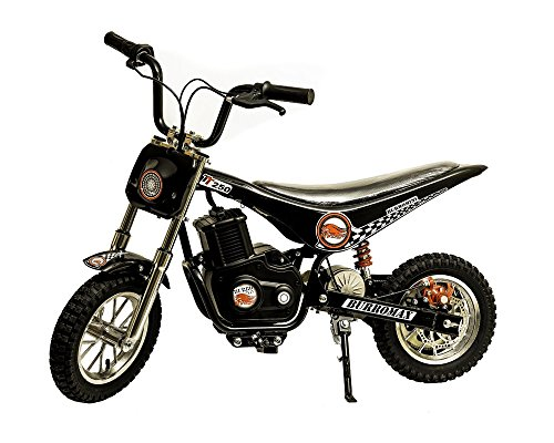 Burromax Black TT250 Electric Motorcycle Dirt Bike for Kids   Fast and Long Lasting 24V 250W Charge   Ride On Mini Pocket Bike Off Road - Dirt Motorcycle Toy Bike