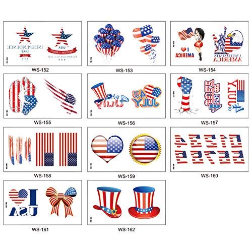 Cubyee 11 Sheets/set USA Flag Premium Waterproof Temporary Tattoo, United States of America Independence Day 4th July National Party Sweat-proof Temp Tattoos, Upgrade Body Sticker