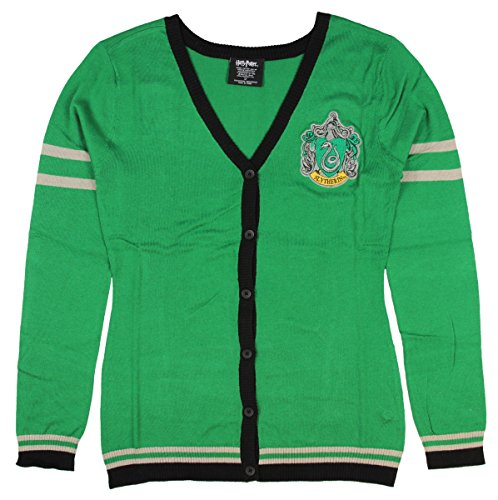 Harry Potter Slytherin Girls Cardigan (Green, Medium) (Slytherin Symbol)