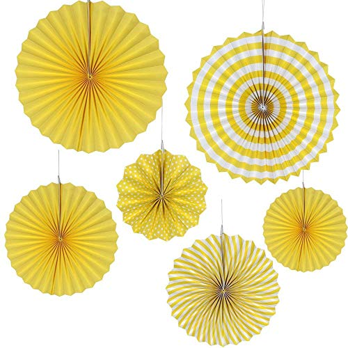 Clingift Party Décor Paper Tissue Fans Hanging Garland for Birthday Wedding Baby Shower Bridal Decoration 6 Pieces - Yellow]()