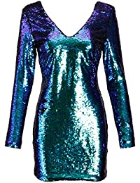 Womens Long Sleeve Blue and Green Mermaid Colored Sequin Dress