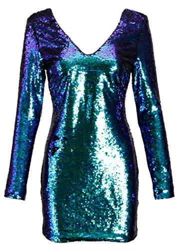 Pretty Attitude Womens Long Sleeve Blue and Green Mermaid Colored Sequin Dress – Size Small