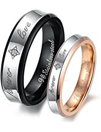 """His or Hers (Priced Separate)""""Forever Love"""" Black & Rose Gold Plated Stainless Steel Titanium Wedding Band Couple Rings(Available Sizes 5 to 12)"""