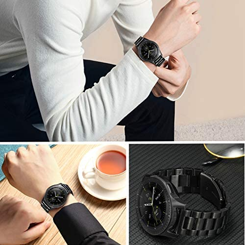 Band Sets for Samsung Galaxy Watch 42mm / Active 2 40mm 44mm, TRUMiRR 20mm 2 Pack Solid Stainless Steel Watchband + Mesh Woven Strap Quick Release Wristband for Garmin Vivoactive 3 Ticwatch E 5191KAWirtL