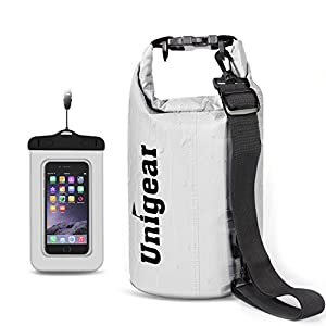 5L/10L/20L/30L/40L 600D Dry Bag Sack, Waterproof Floating Dry Gear Bags for Boating, Kayaking, Fishing, Rafting, Swimming, Camping and Snowboarding Case Bag (White, 5L)