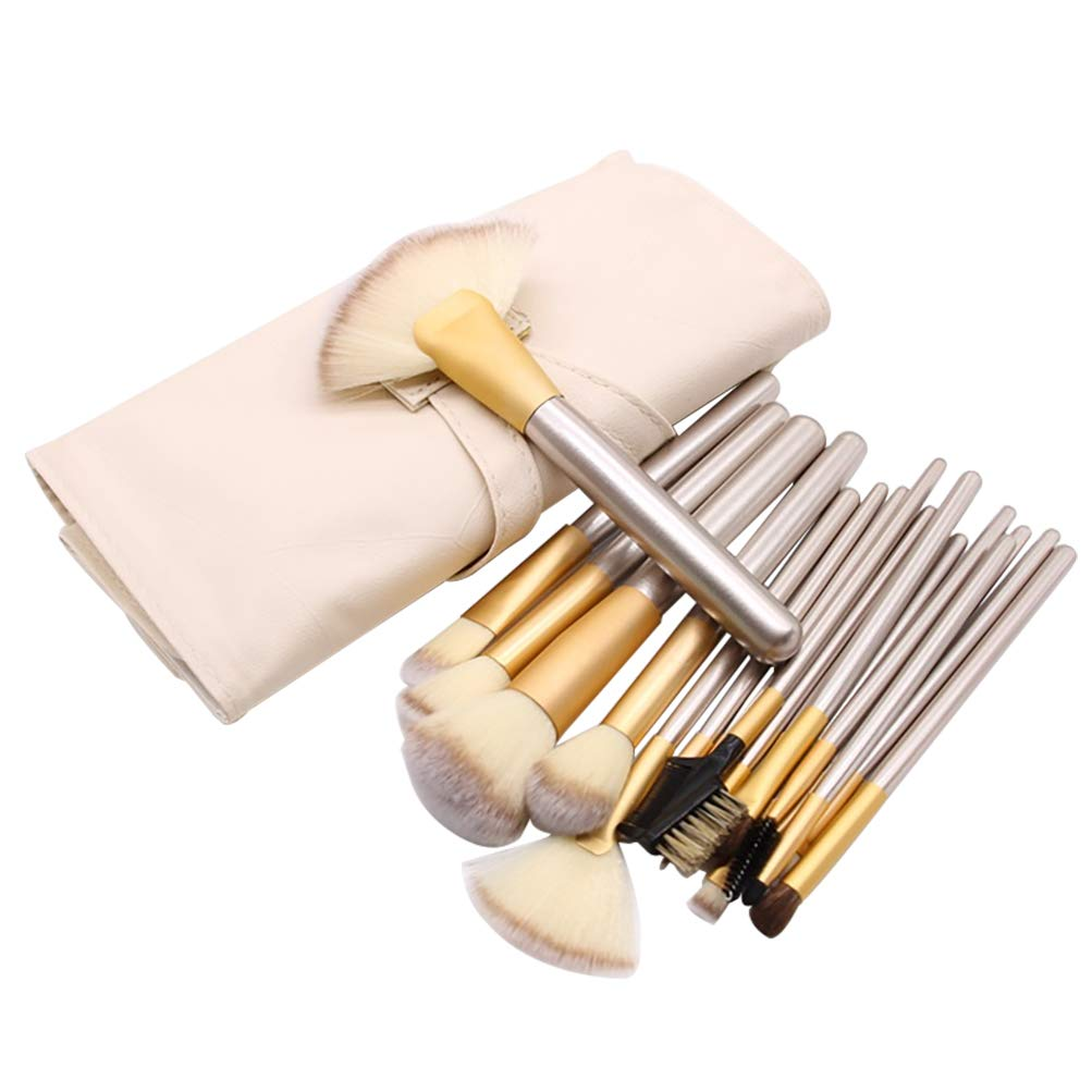 Make up Brushes, 18 Pcs Cosmetic Makeup Brush Set for Foundation Blending Blush Concealer Eye Shadow Powder with PU Leather Roll Bag
