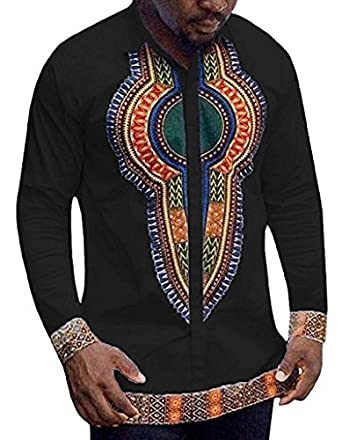 Huiyuzhi men 39 s african dashiki long sleeve print tops at for Men s down shirt