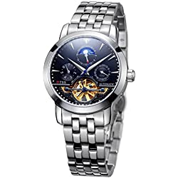 TSS Men's Automatic Skeleton Moonphase Watch Stainless Steel Band T8030C2