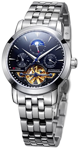TSS Mens's T8030C2 Black Dial Silver Blue Hand Silver Band Skeleton Moonphase Automatic Watch