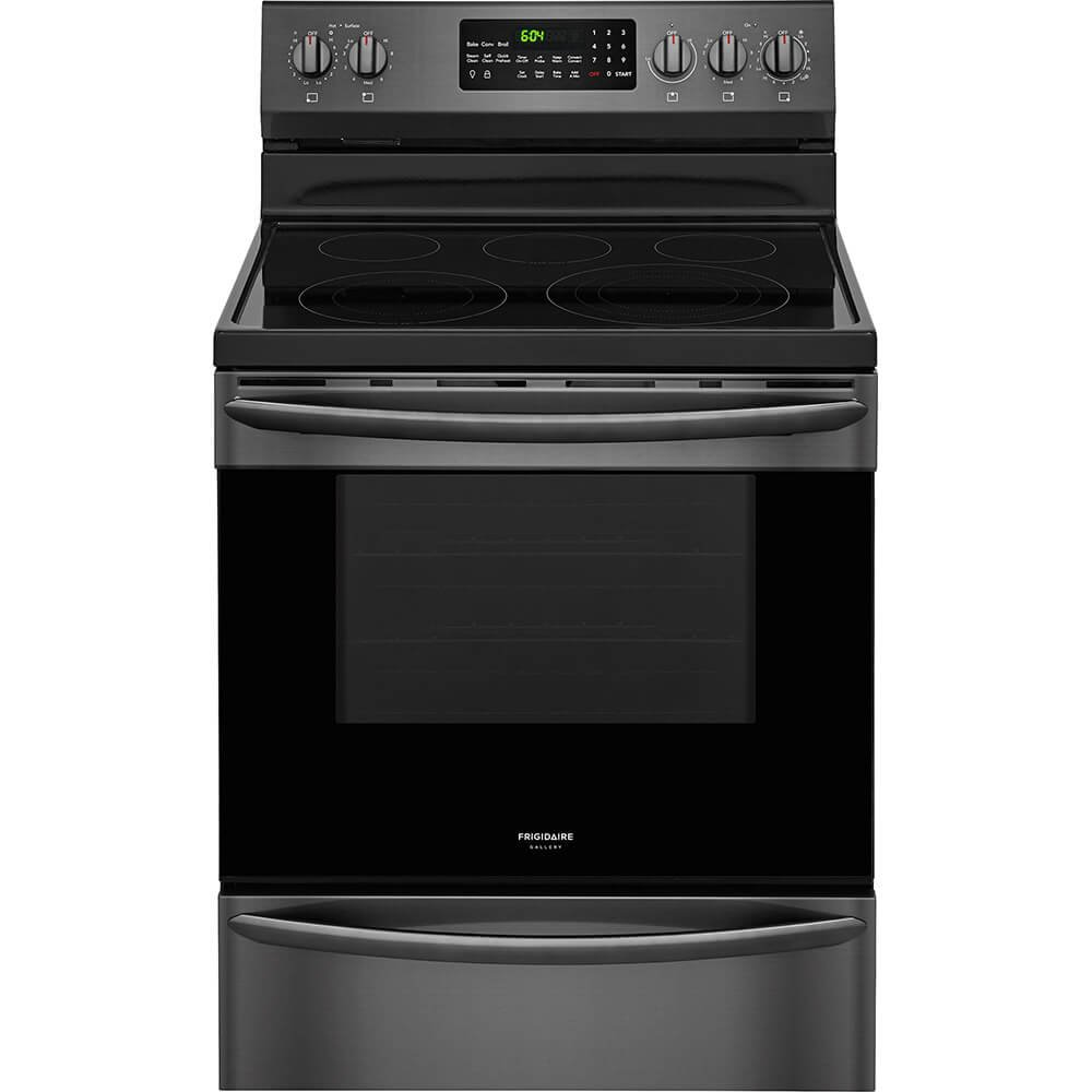 """Frigidaire FGEF3059TD 30"""" Electric Freestanding Range with 5 Smoothtop Cooktop, Storage, 5.7 cu. ft. Primary Oven Capacity, Self-Cleaning Mode, Viewing Window, in Black Stainless Steel"""
