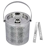 Image of Kosma Designer Double Wall Stainless Steel Ice Bucket Ice Tongs, Size - 15 x 18cm | Ice Cube Bucket