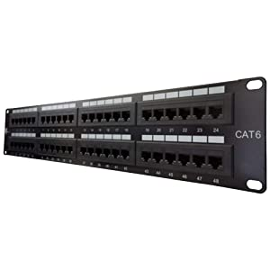 NewYorkCables, Cat6 Patch Panel 48 Port | RJ45 Punch Down Keystone Jacks Rackmount | Standard Heavy-Duty Panel with 2 Bars, Cable Ties, Screws | Ethernet Network |19 Inch,2u |, Horizontal